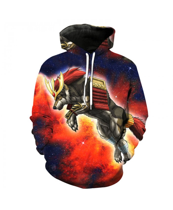 Universe Galaxy Golden Fighter Wolf Hooded Sweatshirt Fashion Pullover hoodies Men Women Casual Pullover Sportswear