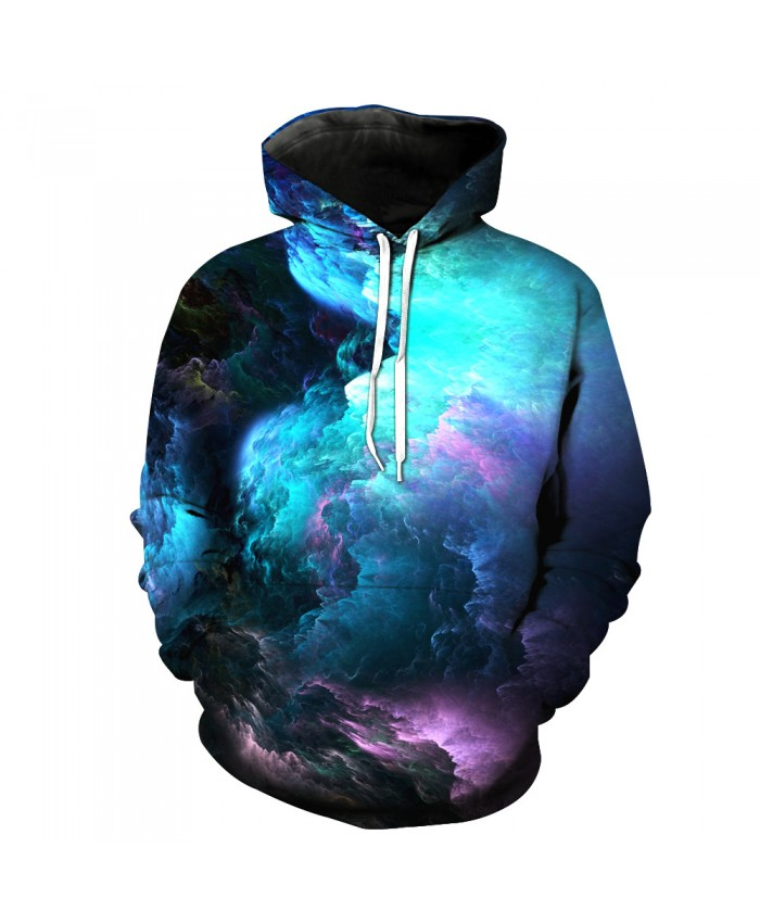 Universe Galaxy Starry sky Earth 3D Print Fashion Hooded Sweatshirt Men and Women Sportswear B
