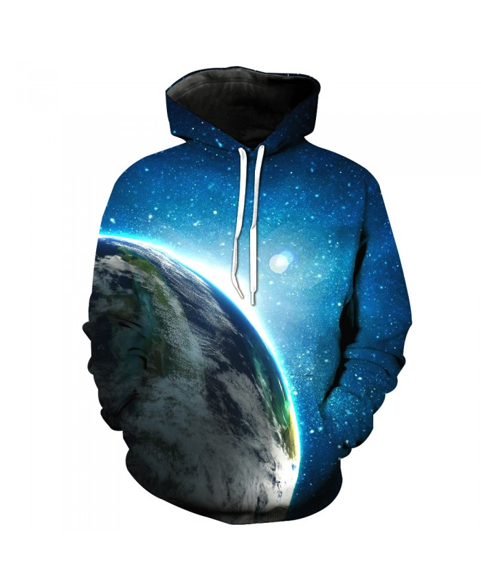 Universe Galaxy Starry sky Earth 3D Print Fashion Hooded Sweatshirt Men and Women Sportswear E