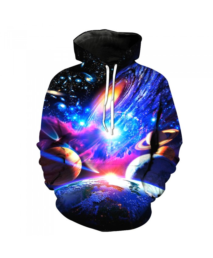 Universe Galaxy Starry sky Earth 3D Print Fashion Hooded Sweatshirt Men and Women Sportswear G