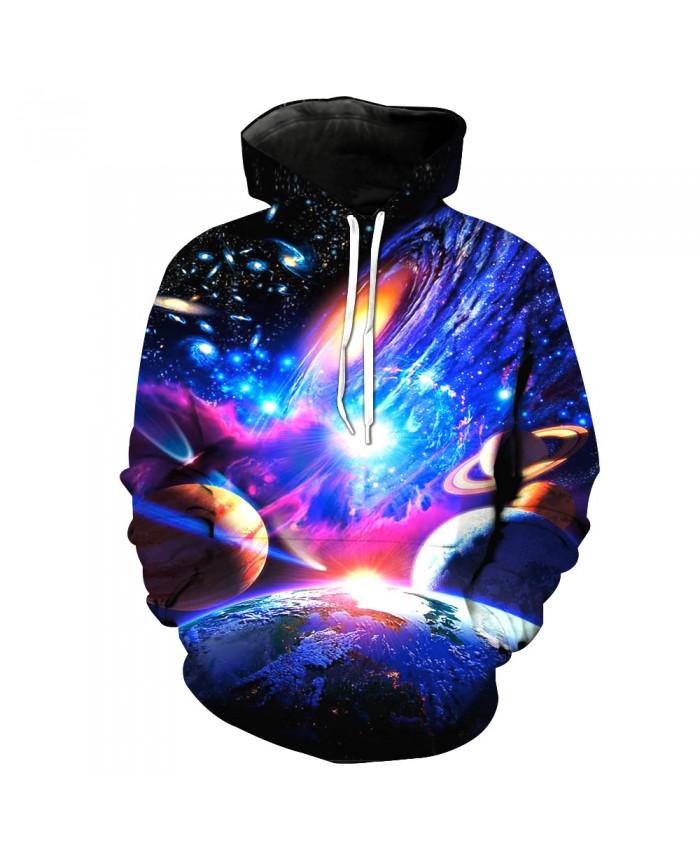 Universe Galaxy Starry sky Earth 3D Print Fashion Hooded Sweatshirt Men and Women Sportswear G