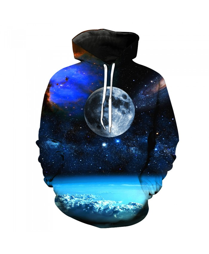 Universe Galaxy Starry sky Earth 3D Print Fashion Hooded Sweatshirt Men and Women Sportswear H