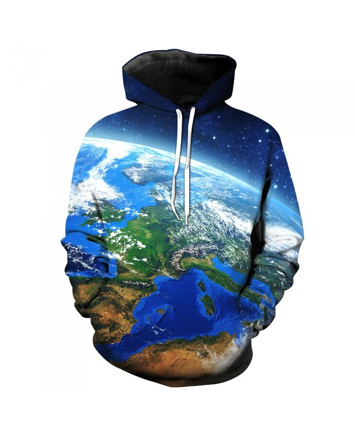 Universe Galaxy Starry sky Earth 3D Print Fashion Hooded Sweatshirt Men and Women Sportswear K