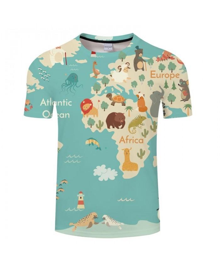 Various Animals Map 3D Print Men tshirt Mens Shirt Casual Summer Short Sleeve Male tshirt Brand Round Neck Men
