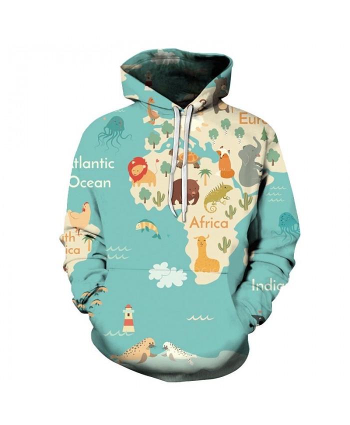 Various Animals Map 3D Printed Men Pullover Sweatshirt Pullover Hoodie Fashion Men Streetwear Sweatshirt Hoodies