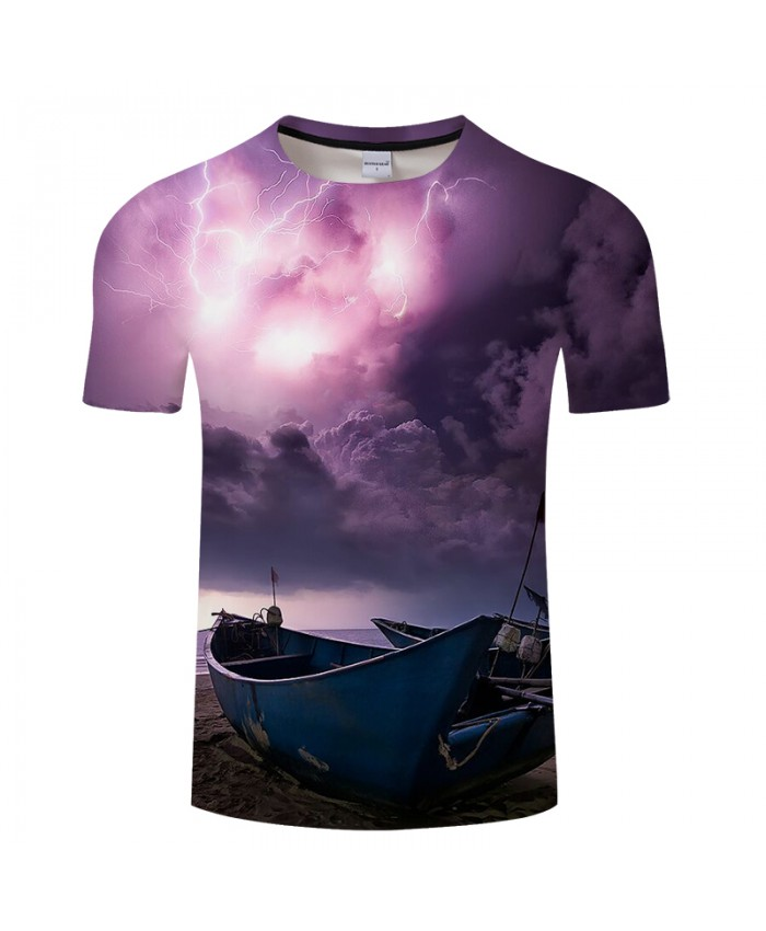 Violet Lights Boats 3D t-shirts Men Women tshirt Summer Casual O-neck Short Sleeve Tees Tops Drop Ship