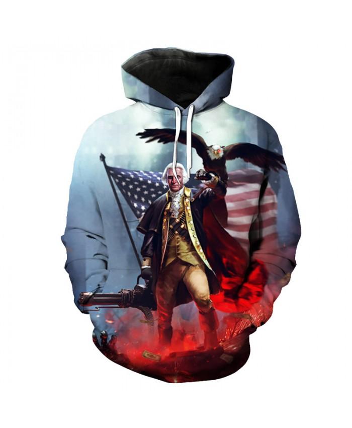 War Series Eagle American Flag Print Hooded Sweatshirt Pullover Casual Hoodie Autumn Tracksuit Pullover Hooded Sweatshirt