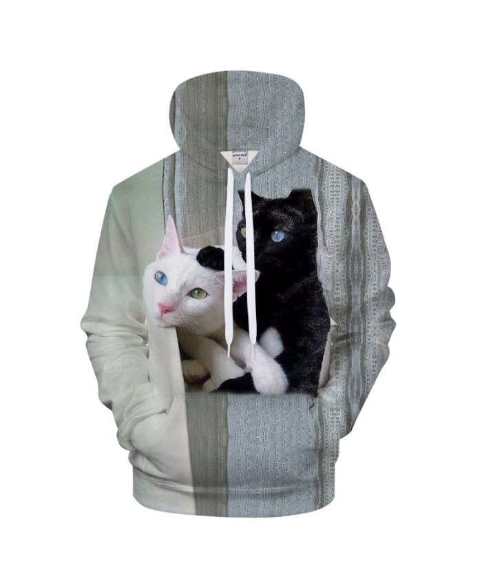 White Black Cats Prints Hoodie 3D Animal Unisex Hoody Sweatshirt 2021 Autumn Winter Cloth Mens Hoodies Drop Ship