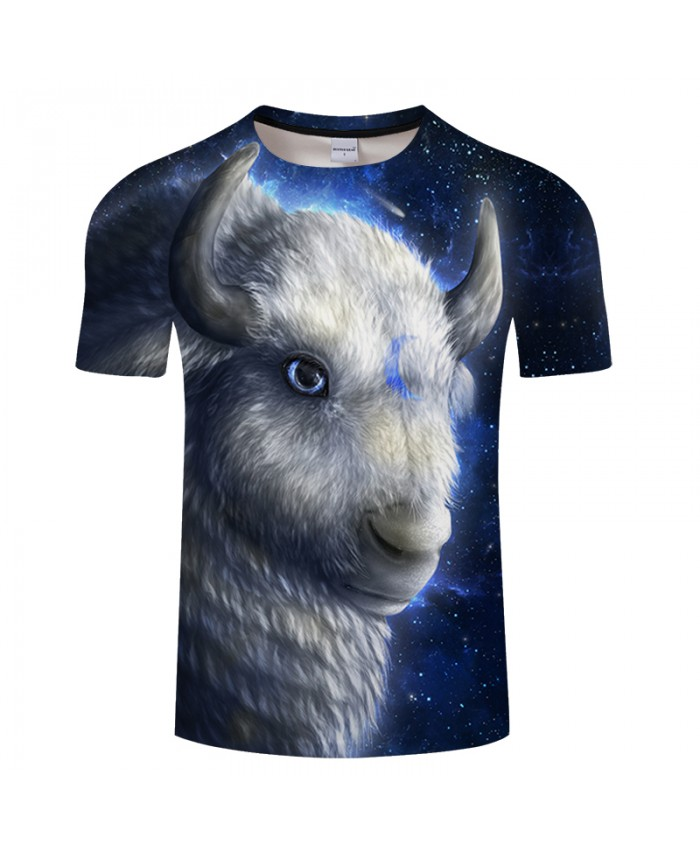 White Buffalo By KhaliaArt Mutton&Galaxy 3D Print T shirt Men Women Summer Anime ShortSleeve Tops&Tee Tshirts Loose Hot DropShip