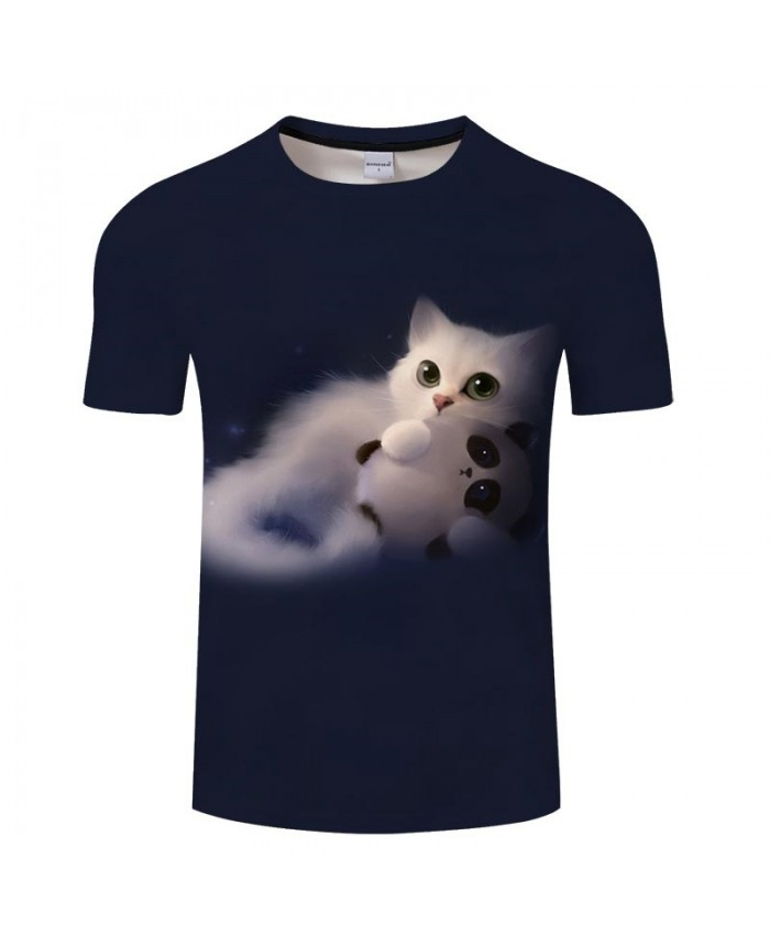 White Cat Hair 3D Print Men tshirt Crossfit Shirt Casual Summer Short Sleeve Male tshirt Brand Men Loose Round Neck