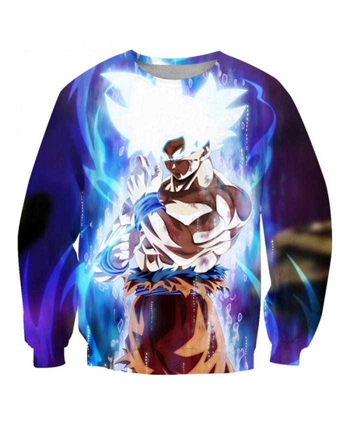 White Hair Dragon Ball 3D Printed Mens Pullover Sweatshirt No Cap Pullover Men Streetwear Sweatshirt Casual Clothes