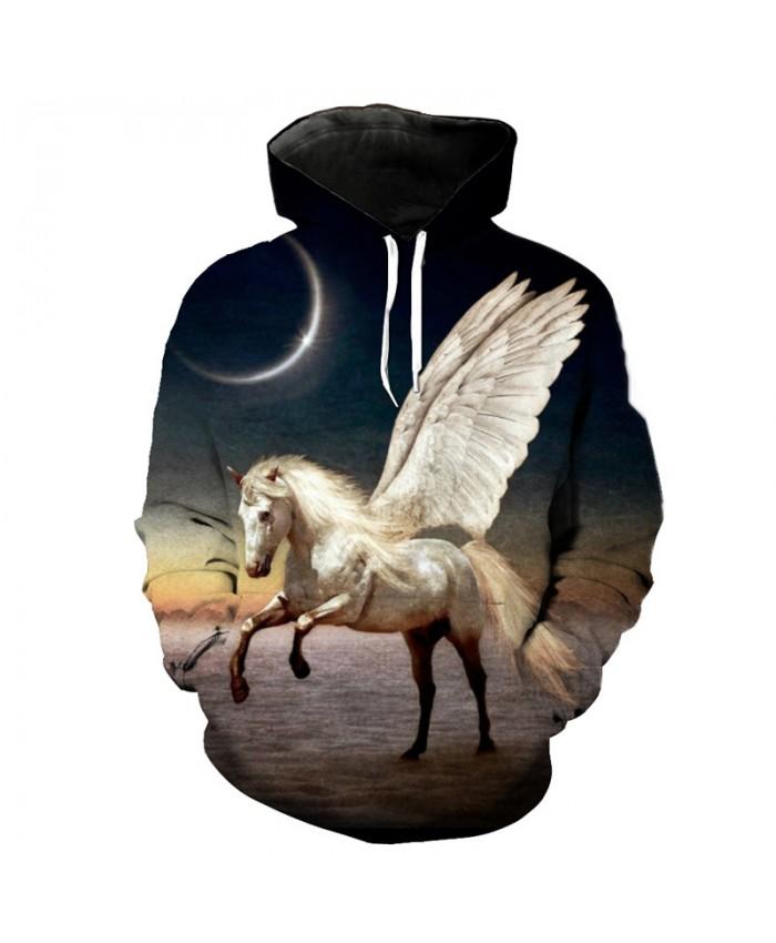 White Pegasus Casual Hoodies 3D Print Sportwear Casual Hoodie Autumn Tracksuit Pullover Hooded Sweatshirt