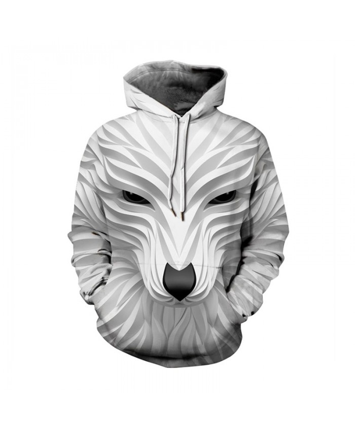 White Plus Size Hoodies 3d Wolf Print Sweatshirts Men Women Autumn Winter Casual Pullover Male Female Tracksuit Jacket