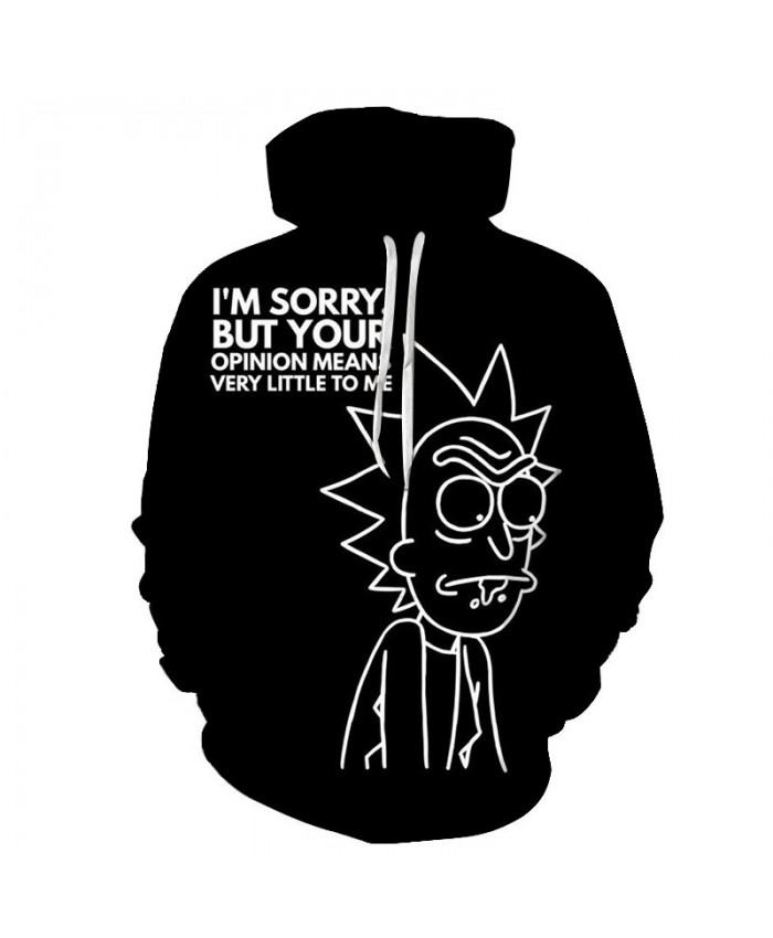 White Portrait Rick And Morty 3D Print Men Pullover Sweatshirt Mens Custom Pullover Hoodie Streetwear Sweatshirt