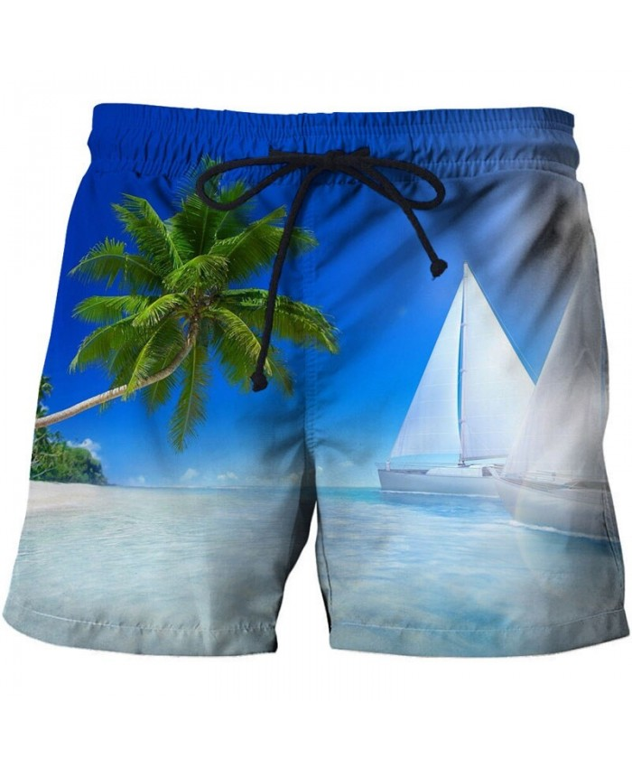 White-Sailboat Men Beach Short 3D Print Men Short Casual Summer Cool Men Elastic Waist Male Fitness Shorts Drop Ship
