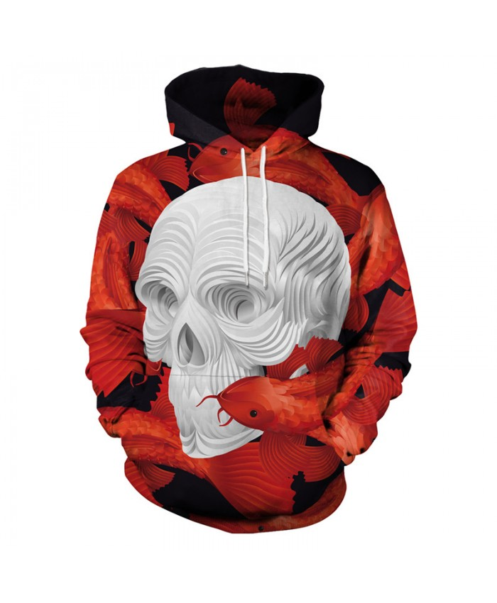 White Skull Hoodies Men Women 3d Sweatshirts With Hat Hoodies Hand Painted Print Colorful Blocks Skull Hooded Hoodies