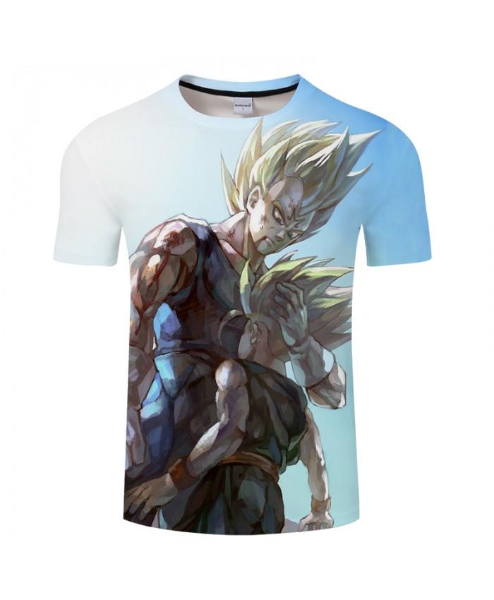 White Spring Casual 3D Print Summer Anime ShortSleeve Top&Tees Tshirts Short Sleeve Dragon Ball Vegeta Drop Ship