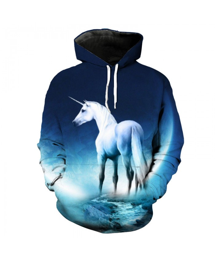 White Unicorn Hoodie Horse Series Leisure Sweatshirt Pullover Casual Hoodie Autumn Tracksuit Pullover Hooded Sweatshirt