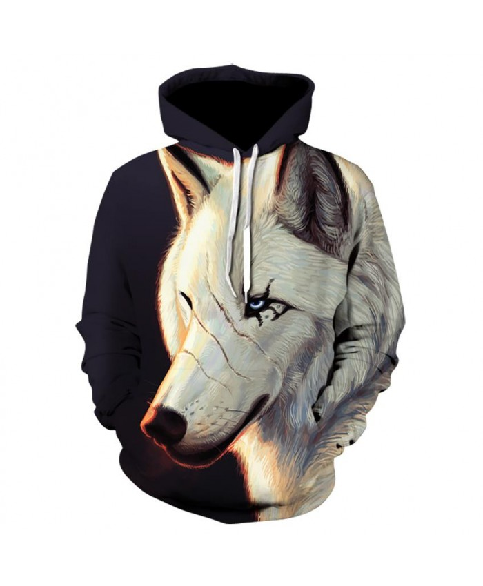 White Wolf Hoodies Hoodie Men Women Hip Hop Autumn Winter Hoody Tops Casual Brand 3D Wolf Hoodie Sweatshirt Dropship