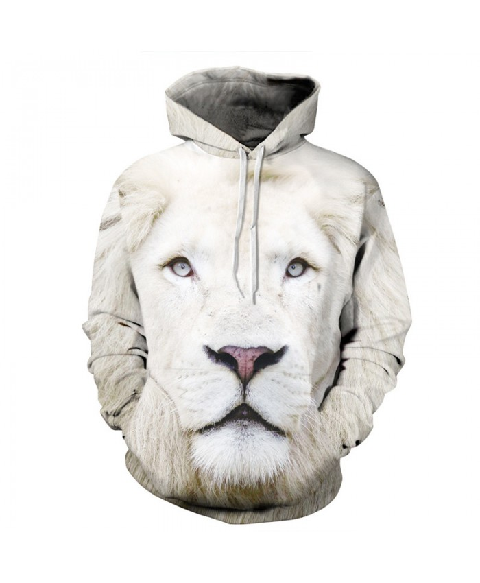 White lion printing Casual Men Women Hoodies Casual Hoodie Autumn Tracksuit Pullover Hooded Sweatshirt