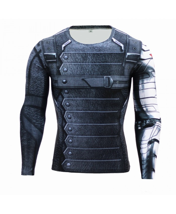 Winter Soldier Rash Guard Marvel Comics Bucky Barnes Crossfit Men T-shirts 3D Long Sleeve Tees