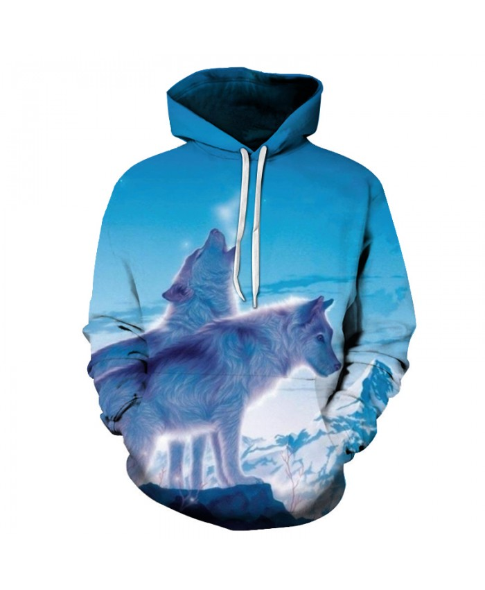 Winter Wolf 3D Mens Hoodie Sweatshirts Unisex Coats Animal Autumn Fashion Tracksuits Hooded Pullover Boy Brand Hoodies