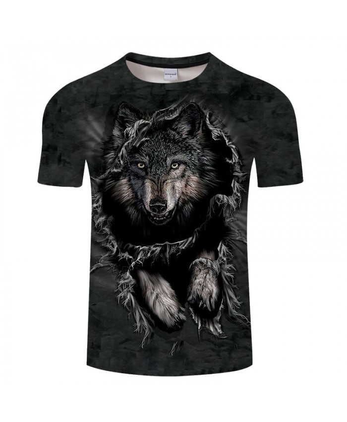 Wolf 3D Print t shirt Men Women tshirt Summer Funny Short Sleeve O-neck Tops&Tee Streetwear Black Classic Drop Ship