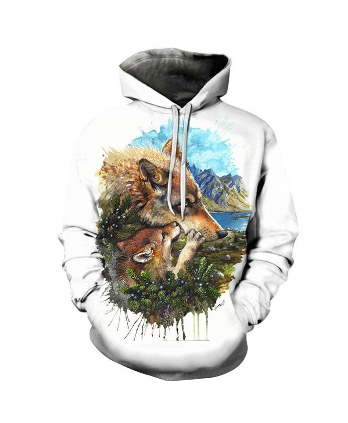 Wolf Cub Mother By Sunima Art Sweatshirts Men Hoodies Animal Tracksuit Printed Hoody Streetwear Coat 3d Pullover Brand Cloth
