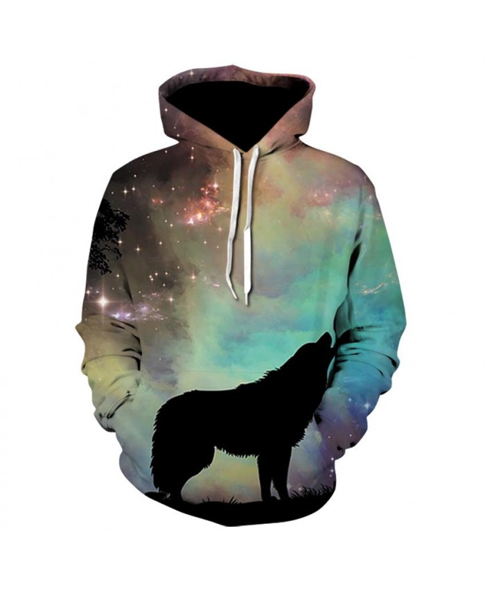 Wolf Hoodies Men/Women 3d Sweatshirts With Hat Print 3d Wolf Howling To The starry sky Hooded Hoodies Hoody