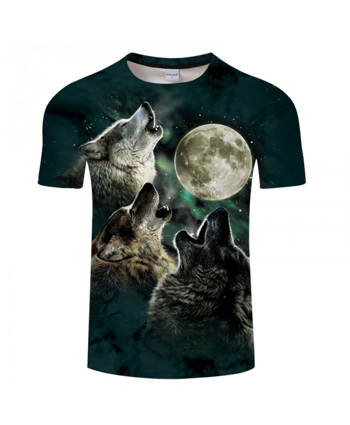 Wolf&Moon 3D Print t shirt Men Women tshirts Summer Classic Short Sleeve O-neck Streetwear Tops&Tees 2018 Drop Ship
