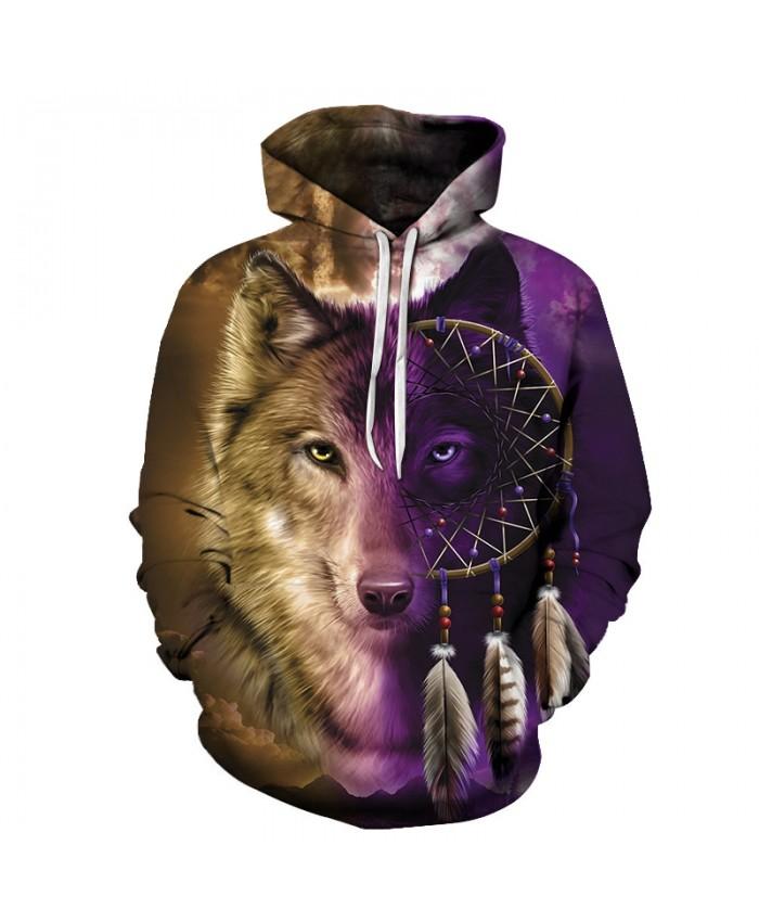 Wolf Printed Hoodies Men Wolf Sweatshirts 3D Tracksuits Native Hoody Harajuku Pullover Brand Streatwear DropShip