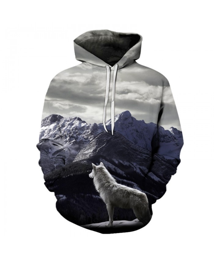 Wolf & Snow Mountain 3D Sweatshirts Men/Women Hoodies With Hat Print Fashion Autumn Winter Loose Thin Hooded Hoody Tops