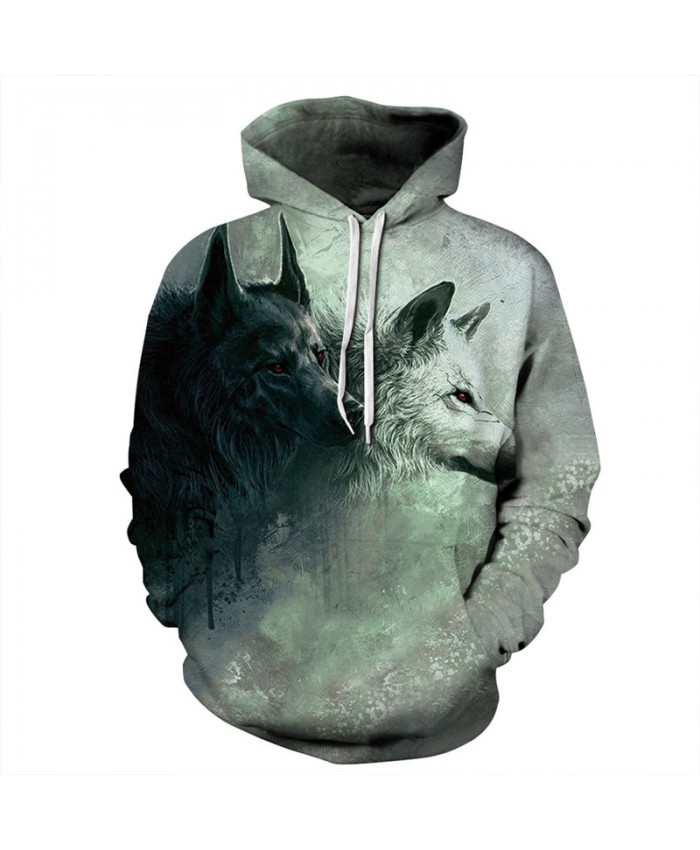 Wolf Style Casual Hooded Sweatshirts Two Wolves Snuggle Casual Pullovers Tracksuit Pullover Hooded Sweatshirt