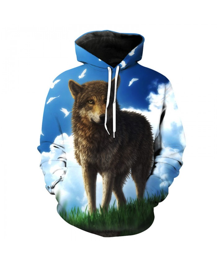 Wolf Style Fashion Hoodie Sky Prairie Wolf Print Casual Hooded Pullover Men Women Casual Pullover Sportswear