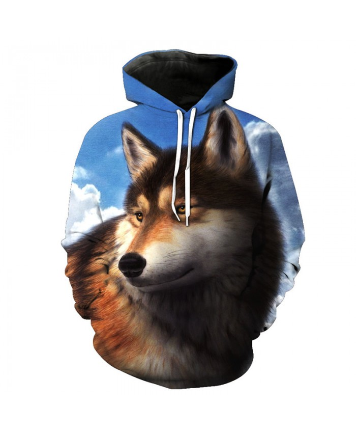 Wolf Style Pullover Sky Melancholy Wolf Print Fashion Hoodie Tracksuit Pullover Hooded Sweatshirt