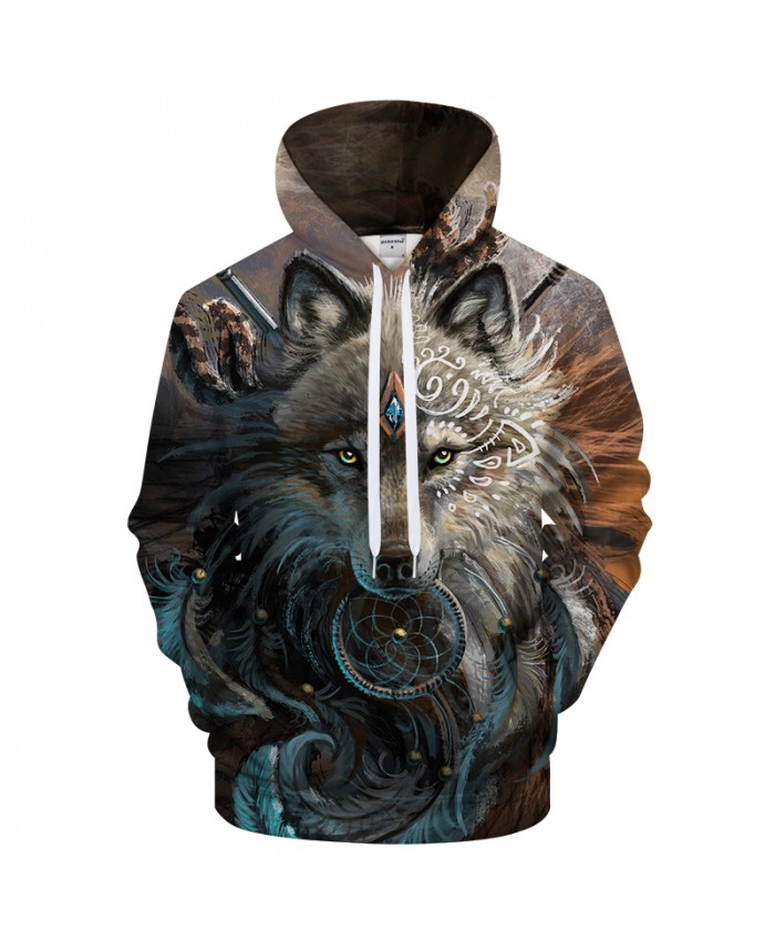 Wolf Warrior by SunimaArt Hoodies Unisex Hooded Sweatshits Drop Ship Animal Hoodie Brand Tracksuits 2021 Pullover Male Coat