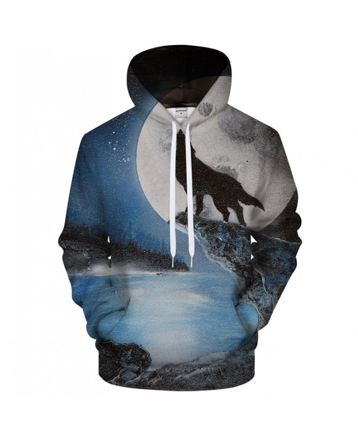 Wolf and the full moon by SMJ Artist 3D Hoodies Men Women Sweatshirts Wolf Pritned Hoodie Unisex Tracksuits Pullover