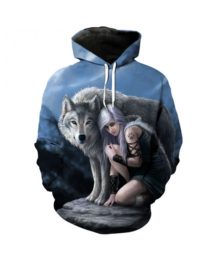 Wolf animegirl cool 3D hooded sweatshirt fashion pullover hoodies Men Women Casual Pullover Sportswear