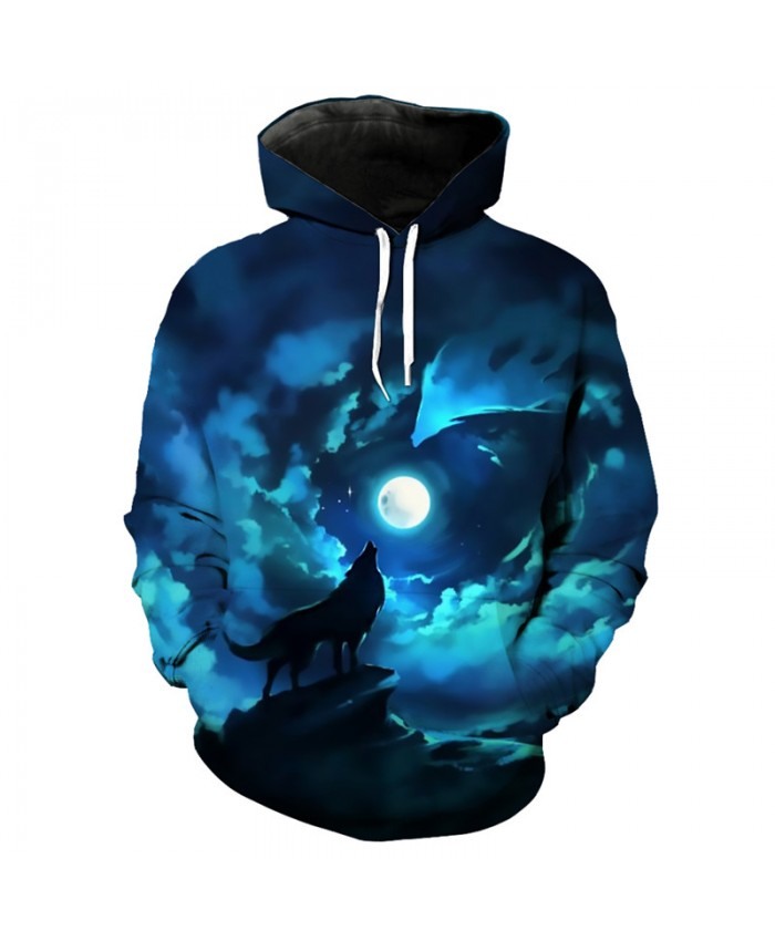 Wolf series 3D hip hop hoodie month howling wolf print cool hooded pullover Tracksuit Pullover Hooded Sweatshirt