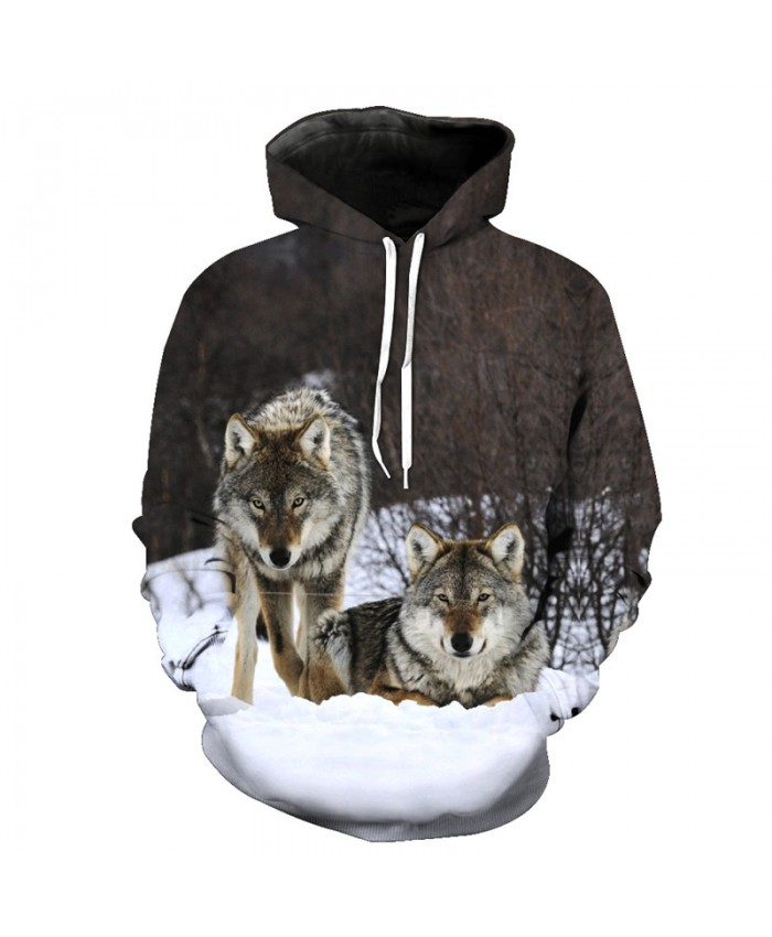 Wolf series of the best partners Casual Hoodie Sweatshirt Neutral Hoodie Tracksuit Pullover Hooded Sweatshirt