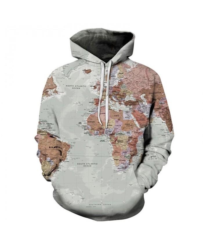 World Map 3D Printed Men Pullover Sweatshirt Pullover Hoodie Casual Hoodies Streetwear Sweatshirt Fashion Men Hoodie