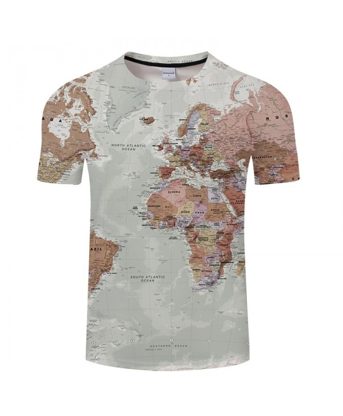 World Map 3D Printed Men tshirt Mens Shirt Casual Summer Short Sleeve Male tshirt Brand Men Round Neck Tops&Tee