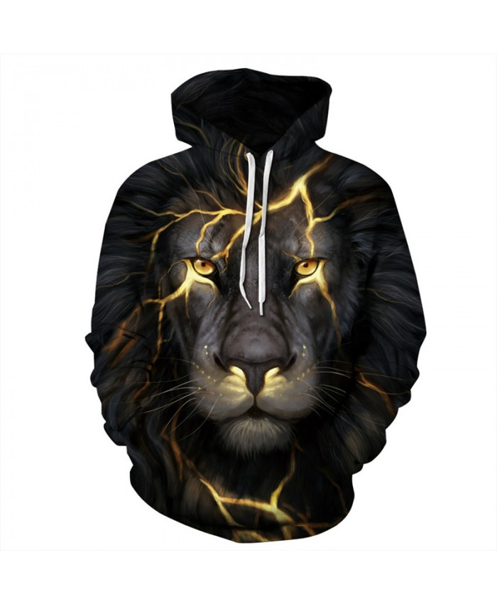 Yellow Lightning Lion Print Men's Hooded Sweatshirt Hoodies Casual Hoodie Autumn Tracksuit Pullover Hooded Sweatshirt