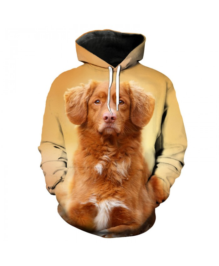 Yellow Retriever Dog Print Funny Hooded Sweatshirt Pullover Neutral Sportswear