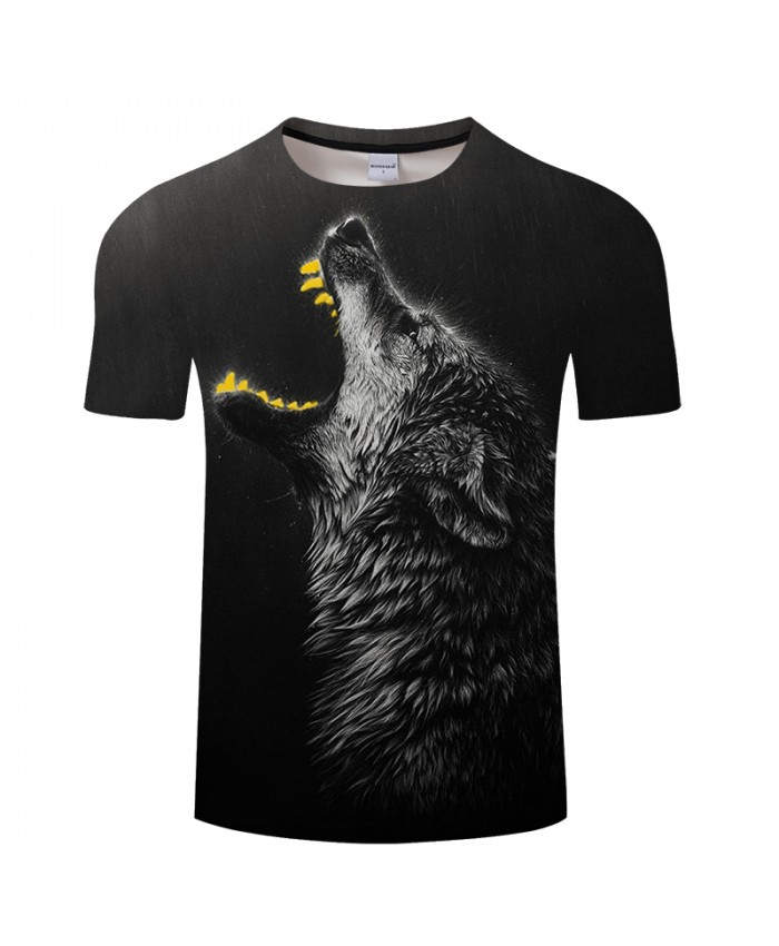 Yellow teeth Wolf 3D Print t shirt Men Women tshirt Summer Funny Short Sleeve O-neck Tops&Tees Streetwear Drop Ship