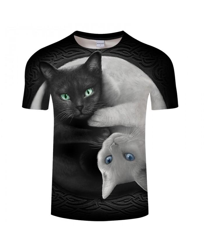 Yin&Yang Cat 3D Print T shirt Summer Short Sleeve O-neck Casual Tops&Tees Streetwear Men Women Tshirt DropShip