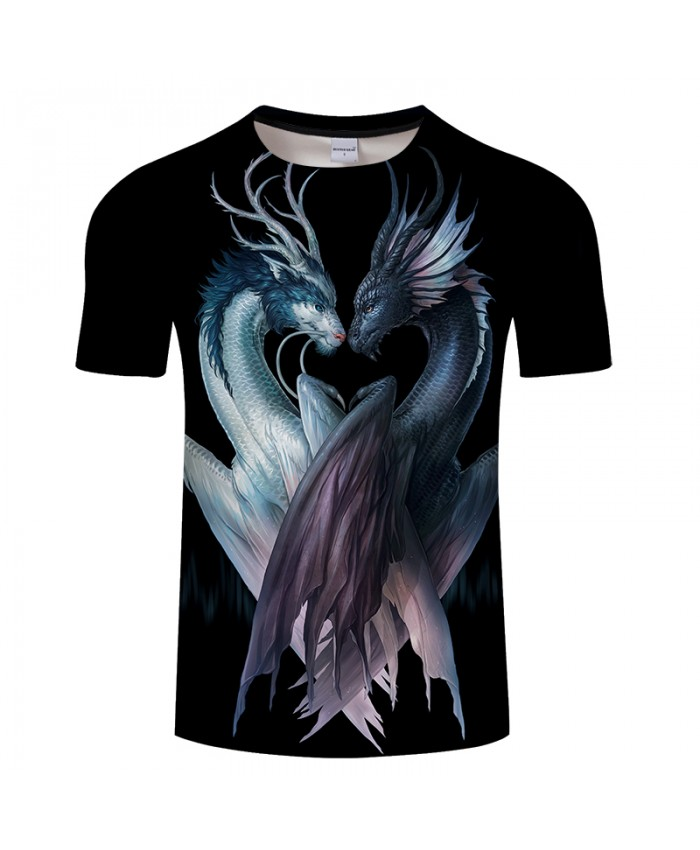 Yin and Yang Dragons black By JojoesArt 3D Print t shirt Men Women tshirt Anime Short Sleeve O-neck Top&Tee Streetwear Drop Ship
