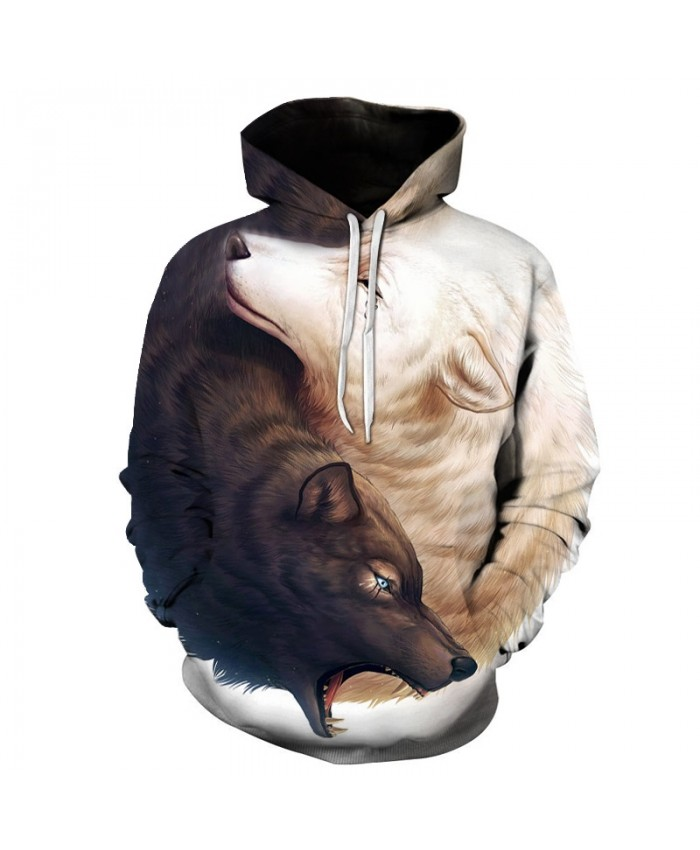 Yin and Yang Wolves by JoJoesArt 3D Wolf Hoodies Brand Hoodie Men Sweatshirt Unisex Wolf Male Pullover Fashion Casual Tracksuits