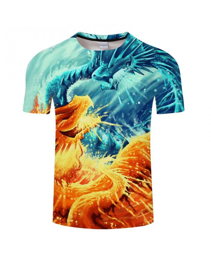 Ying and Yang Dragons Printed Tshirts Mens t shirt Casual Short Sleeve Tees Summer Clothes Tops Drop Ship