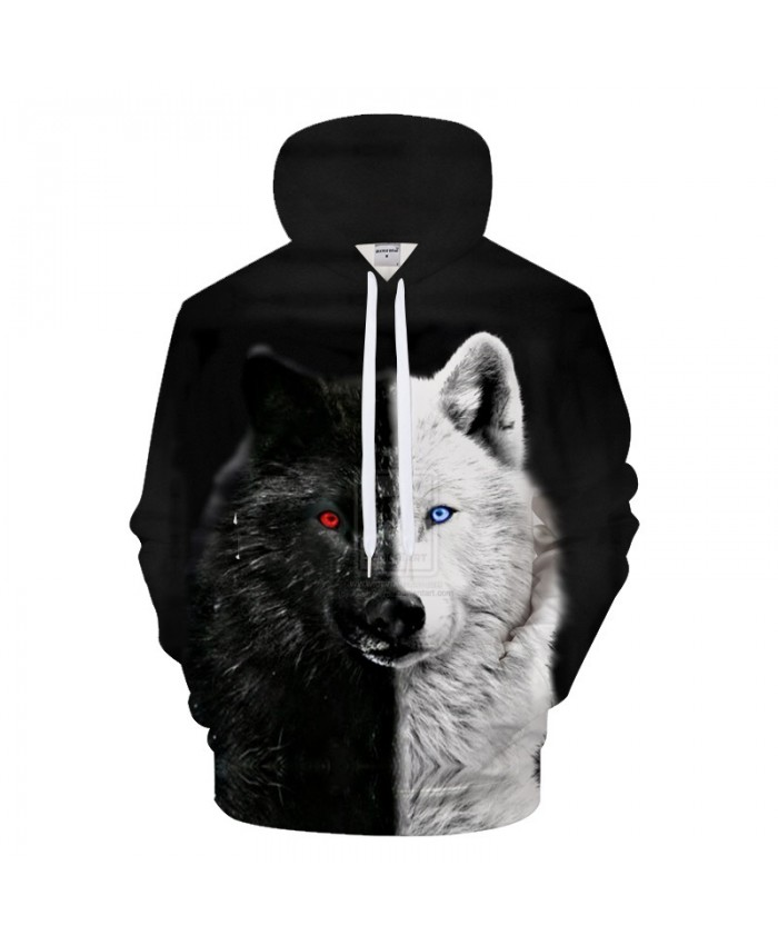 Ying and Yang Wolf Hoodies Streetwear Sweatshirt Casual Hoody Men 3D Pullover Harajuku Tracksuit Male HipHop DropShip